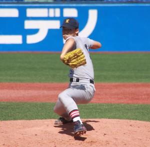 3戦目、3番手で力強い投球を披露した福谷浩司