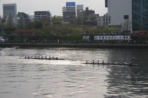 コックスコールが乱れ、終盤二艇身弱の差で遅れをとる慶大(左)