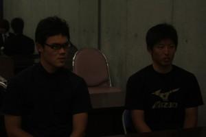 慶早戦への思いを語る福谷選手(左)と竹内選手(右)